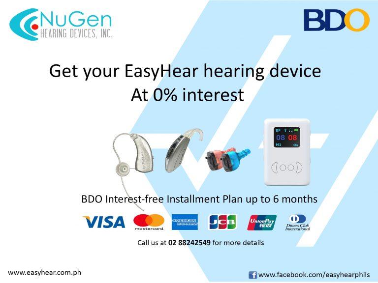 use BDO installment to purchase EasyHear hearing aid